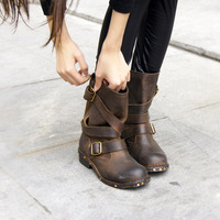 Plus Size 34-44 New 2014 Full Grain Leather Women Ankle Boots Vintage Knight Boots England Style Motorcycle Boots