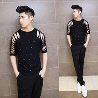 2014 summer man short sleeve t-shirt rivet cutout slim t-shirt casual fashion punk tops