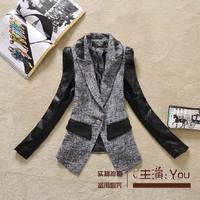 Free shipping 2014 autumn fashion elegant slim PU patchwork female suit handsome turn-down collar women blazer outerwear jacket