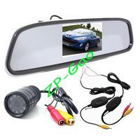 "4.3"" LCD Mirror Monitor + Wireless 9 IR LED Reversing Camera Car Rear View Kit Waterproof 20pcs/lot"