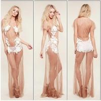 Women 2014 Latest Mesh White Appliques Sheath Sleeveless Mid-Calf Sexy Night Dress