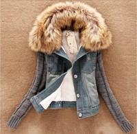 2014 new Autumn winter women's short denim jacket coat slim fur collar cotton denim jeans outerwear W867