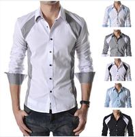 Hot sale Men shirt/casual shirt/polo/mens floral print shirt/men long sleeve Lattice shirts summer clothing Free Shipping