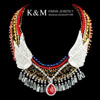 New Fashion Exaggerated Brand Style CZ Diamond Chain Choker Chunky Bib Statement Wing Pendant Necklace  Evening Dress Jewelry
