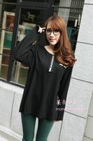 Large Size 4XL, 6XL Women Black Long Sleeve 100% Cotton Tshirt Fat Tops Free Shipping 0105