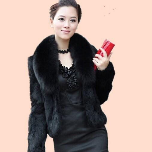 Free shipping faux Fur coat faux rabbit hair cape vest black white fur overcoat medium-long mink hair winter coat SY1861(China (Mainland))