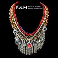 New Fashion Exaggerated Brand Style Choker Chunky Bib Statement Handmade Tassel Charm Necklace Evening Dress Jewelry NK-01267