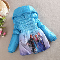 NEW 2014 Winter Children Outerwear Coat Frozen Parkas Warm Coats for Girls 3-7ages