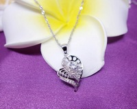 Free shipping! retail Stylish design 925 silver pendant with zirconia for woman romantic double heart shape pendant Q051