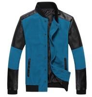 2014 Spring Autumn Men's Thin Jacket Man Fashion Business Casually Splicing Plus Size Slim Jacket Large Sizes Coat Black Blue