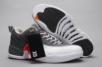 New arrival Air mens 12 basketball shoes,Cheap 12 Retro XII Low wolf grey male athletic shoes grey/white/orange fast delivery