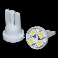 2pcs/lot 501 W5W T10 WIDE ANGLE WHITE 4 LED BULBS HID XENON