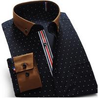 2014 New Men's Shirts Brand Long-Sleeve Formal Suit Dress Shirts  Plus Size Hit Color stitching Dress Shirt S-4XL XG50-224