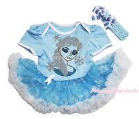Frozen Rhinestone Princess Elsa Blue Bodysuit Snowflake Organza Skirt Baby Dress NB-18M JS3320