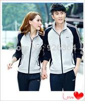 2014 Autumn Korean men's track suit couple models sportswear suit, Ms. Slim sports suit