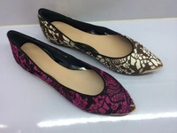 2014 NEW DESIGNER Elegant Lace Style Women Boat Shoes Genuine Leather Vintage Printed Hight Quality Free Shipping
