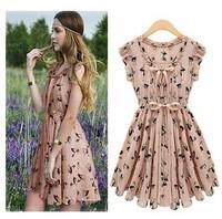 Hot Sell 2014 New Arrival Chiffon Mini O-Neck Dot Summer Dress Plus Size Empire Brief Dress