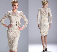 2014 Mother Dresses Sheath High Collar Three Quarter Champagne Knee Length Short Lace Mother Of the Bride Dresses