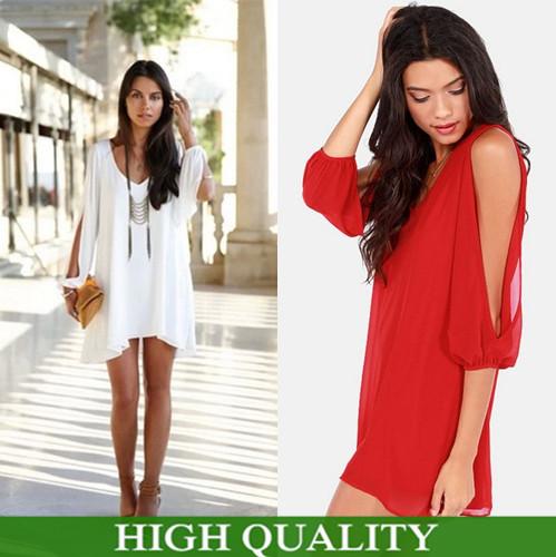 7 Candy Colors 5 Sizes Plus Size Women Dress V Neck Off Shoulder Solid Chiffon Mini Dress Desigual Casual Dress Women Vestidos(China (Mainland))