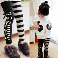 New 2014 Girl Clothing Set, Fashion Girls Panda T shirt+Striped Leggings 2pcs Set, Cotton Children Clothing Free Shipping