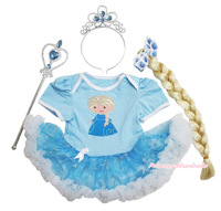 Frozen Princess Elsa Print Bodysuit Snowflake Organza Baby Dress & Costume Set NB-18M JS3323
