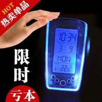 510 clocks blue light led timer ofhead mute luminous electronic music alarm clock table