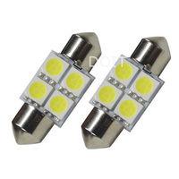 31mm C5W Festoon 4 SMD LED Xenon White Interior Bulb x2