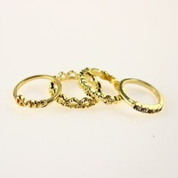 Vintage Punk Gold Color Heart Love Letter Midi Stack Finger Ring Knuckle Lord of the Rings for Men Women