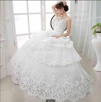 2014 new bride wedding dress diamond strapless bind with sexy lace luxury fashion wedding dresses vestido de noiva curto 404