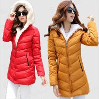 Quality New Fashion 2014 Winter Korea fur Hood Jacket Coat Womens zipper slim long white duck Down Parka red black free shipping