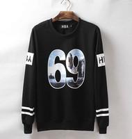 Fashion top Unisex sweatshirts HBA No. 69 print coats Hip-Hop Street Dance sportwear HIPHOP RAP Street Crewneck Hoodies pullover