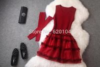 2014 brand new women's autumn fashion wear European top brand fashion slim woolen dress Silk organza elegance party dress T2092