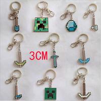 Free Shipping 300pcs/Lot 2014 3cm kawaii kids MC TNT minecraft key chain sheep party Game play minecraft keychain