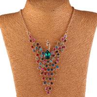 2014 Fashion Elegant  Peacock jewelry Golden Necklace Set QDXL5057