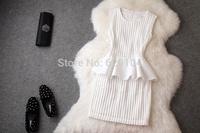 2014 brand new women's autumn fashion wear European Professional OL dress  elegance Falbala cultivate dress T2095