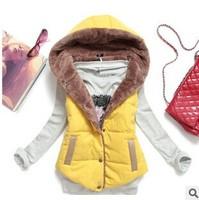 2014 Autumn winter plus size slim women plus velvet vest thermal down cotton with a hood vest for female YS8560