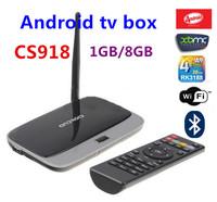 Quad Core RK3188  Android 4.4 TV Box CS918 1GB/8GB bluetooth AV Port RJ-45 USB WiFi XBMC Smart TV MK888  free shipping
