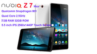 "ZTE Nubia Z7  Max 4G LTE Mobile Phone Qualcomm MSM8974AA 2.0GHz 5.5"" FHD 1920x1080 2GB RAM 16GB 13.0MP Camera WCDMA Dual SIM"