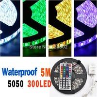 DC 12V 55W 5050 60 LED 5M Waterproof RGB Strip Light + 44 Key IR Controller+ RGB Control Box