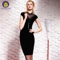 2014 slim one-piece dress black fashion elegant medium lace patchwork