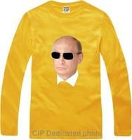 Hot 2014 Unisex Long Sleeve Vladimir Putin HEAD PORTRAIT Print Tees Cotton Russian President T-shirts Casual Cool Basic Shirts