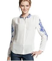 Free shipping!Dropshiping!New arrival Fashion Retro Casual Loose Long Sleeve Chiffon Blouse Shirt Top Women's white shirts G0142