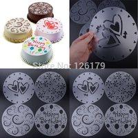 New Arrival 4Pcs Round Cake Fondant craft Decorating Cutter Flower Heart Sugarcraft Mold
