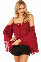 sexy women full sleeve blouse in chiffon with slash neck and butterfly sleeve for wholesale and free shipping haoduoyi