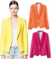 2014 blazer feminino blazer women candy suits for women blazers autumn winter coat hot wholesale free shipping