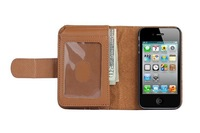 Hot Shopping Wallet Purse Leather Holster Case for iphone 4 4G 4S  + 2pcs film Free shipping