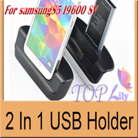 For Samsung Galaxy S5 I9600 SV Multi-Function Dock Station 2000mA Charging+Data Sync 2 In 1 USB Holder 5.0V/1A Free Shipping