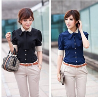 Free shipping!Career shirt send tie 2014 new Promotions hot trendy cozy women clothes plus size Casual shirt Slim shirt G0143
