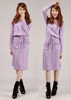 818Autumn&winter Korean style female literary retro design pocket long-sleeved twist knitting sweater dress with sashes