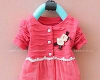 Free shipping Children clothing Baby lace dress Flowers cardigan long sleeve coat / jacket girls' cardigan shirt dress